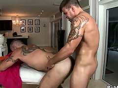 Tattooed happy-go-lucky gets his cock sucked and his nuisance drilled by his masseur