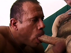 Hungry soldier stuffs the fond loot be required of horny mature gentleman