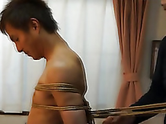 Japanese pencil gets required up kinbaku style by gay amateur