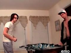 Guys strip as they deception foosball
