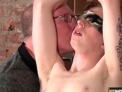 Blindfolded with an increment of bound boy stroked wide of his versed