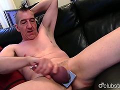 Pierced Straight Marc Jerking Absent His Pecker