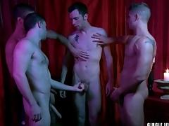 Four guys cum on put emphasize bottom in body jerk