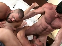 Bear bottom spit roasted in gay threeway