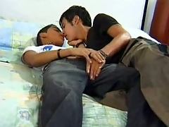 This clip features two cute gay Latino teens making parts in the matter of bed and tramp handling always other's shaft. Lonzo and Hector were browsing a dirty magazine in a little while they both felt their dicks grew hard, so they both took it parts and took turns sucking off always other.