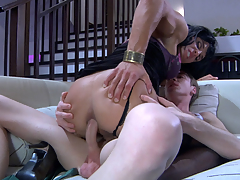 Good-looking sissified hottie sliding down on a gay chap for some oral-anal fun