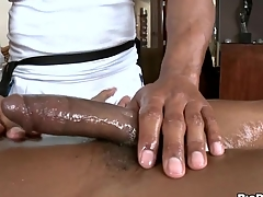 Black gleam gets his horny rod rubbed and stroked