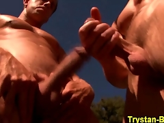 Pornstar sucked by a hunk in someone's skin outdoors