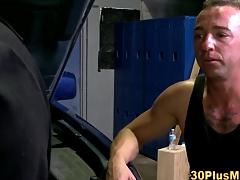 Muscle stud rimjob cums