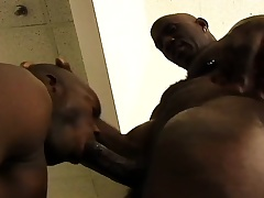 Black stud gets his huge dick sucked plus then drills his buddy's ass