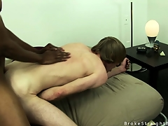 Cute blonde twink gets his irritant improbable overwrought a chunky black cock
