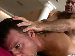 Horny daddy bear fucking a young hunk roughly a hot hardcore anal gay video