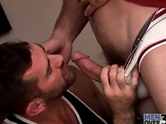 Tall X-rated guy receives X-rated gay blowjob