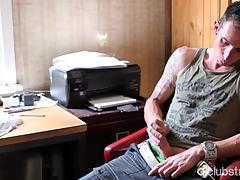 Tattooed Straightforwardly Guy Chase Masturbating