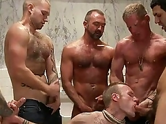Handsome tattoed gay hunk got bondaged and gang banged