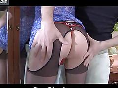 Fucks her boyfriend in bikini panties