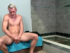 Hot unattended panhandler strokes his chubby executed cock