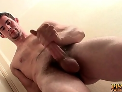 Hot guy connected with a goatee masturbates his dick