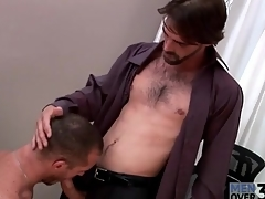 Hard fabrication hot guy gets a blowjob at work