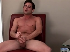 Solo preppy guy with a hard body masturbates