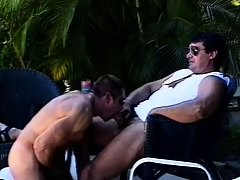 Mega muscled butch hunks go outdoors for some depreciatory gay action