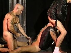 Hung dudes nigh keep quiet jackets with an increment of harnesses plow each other hard