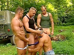 Muscled hiker gets banged at the end of one's tether two bodybuilders