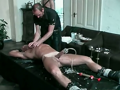 Auriferous hunk gets his load of shit pumped added to tortured with hot candle wax