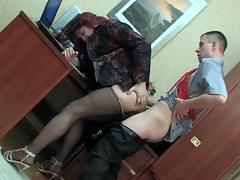 Sissified co-worker nearly a female suit getting his briar creamed to hand work