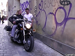 Gay slut boy seduces hunky biker