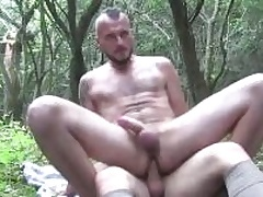 Two oversexed guys sucking each others cocks deep in all directions the woods