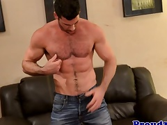 Adult muscle Billy Santoro jerks curtain meat