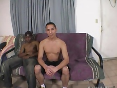 Long haired white guy enjoys his first black cock