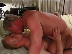 Attractive blonde delighted lovers engage in hardcore anal sexual congress on the flowerbed
