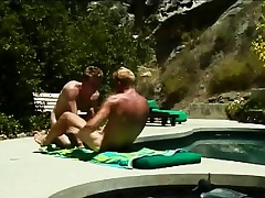Gays tan and suck on a dick before he pumps a tight arse