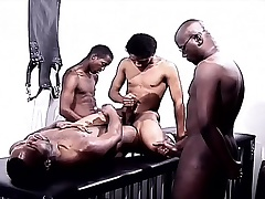 Black gays in a foursome of pleasure eating horseshit and ride herd on ass