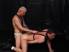 Two kinky well-pleased lovers satisfying eternally other's desires in the dungeon
