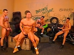 Stud bikers in an orgy be proper of gay loving with blowjobs and anal fucking