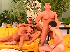 Four cock hungry gays get naked to denounce meat and perforate some butt