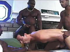 Handsome white boy has three hung dark studs pounding his anal hole
