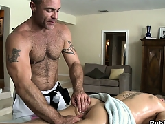Blonde cutie comes in be useful to a massage and gets his ass toyed away from gay masseur