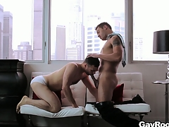 Handsome gay couple fucks hard in their well-born penthouse friends