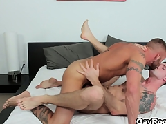 Troy Daniels gets his nuisance torn up away from his horny tattooed masseur