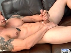 Muscular solo bloke is smooth together with down in the mouth painless he strokes
