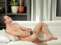 Unexcelled guy models sexy irritant and masturbates