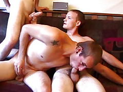 Amateur straight twink group fun on settee