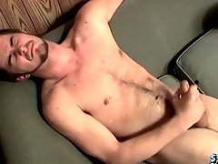 Cumshot lands chiefly his hairy stomach