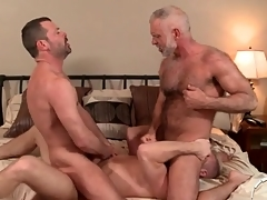 Three hot daddies with regard to a gay anal threesome