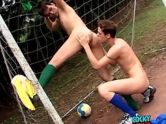 Sporty soccer boys have anal copulation outdoors