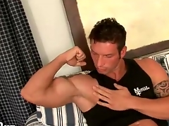 Muscular pauper gets naked and kisses his biceps